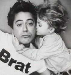 Robert Downey Jr. and his son, Indio. What a Great  Picture of Robert & his Cute son giving Daddy a Kiss... Love It...