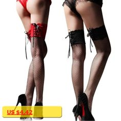 Womens Black Red Fishnet Stocking Thigh High Sheer Lace Top Sexy Stockings Hosiery Nets Stay Up For Women Female Stockings