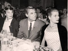 Grace Kelly with Cary Grant and his wife, Betsy Drake