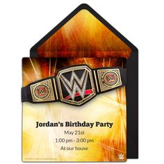 Customizable, free WWE Championship online invitations. Easy to personalize and send for a WWE birthday party. #punchbowl
