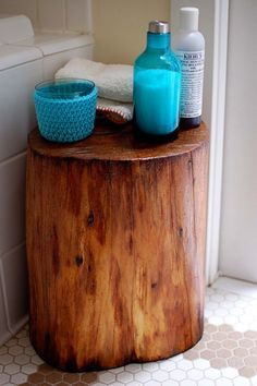DIY tree stump - I like this for tub-side
