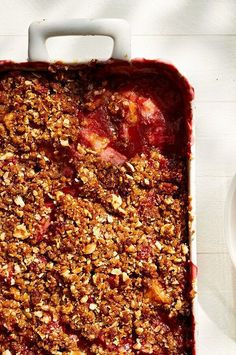 Some would say you haven't truly embraced spring until you've made our Strawberry Rhubarb Crisp, and we'd be inclined to agree. #rhubarb #rhubarbrecipes #summerdesserts