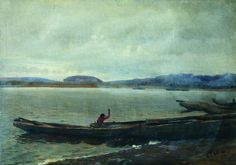 Landscape of the Volga with boats, 1870 Ilya Repin