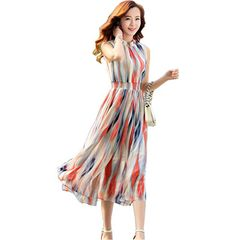 Shineflow Women's Sleeveless Crew Neck Chiffon Striped Tea Length Midi Party Dress (Small) Shineflow http://www.amazon.com/dp/B00XBKGY0Q/ref=cm_sw_r_pi_dp_cbSrwb1YHE29D