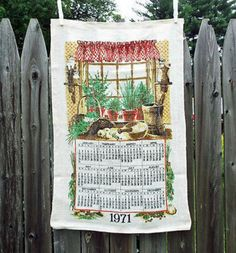 Vintage 1971 Calendar Kitchen Dishtowel Country Wall Art Accent Home Decor New Unused