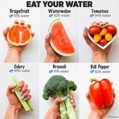 While drinking water is crucial for your overall health & wellbeing, fruit and vegetables can help you stay hydrated  Because the hypothalamus regulates thirst and hunger, you can often confuse hunger with thirst! That's why it's crucial to make sure you're hydrated properly. Below is a breakdown of the options: Grapefruit: 91% water by weight Watermelon: 92% water by weight  Tomatoes: 94% water by weight Celery: 95% water by weight Broccoli: 91% water by weight Bell pepper: 92% water