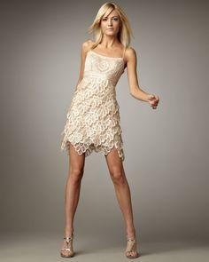 Sue Wong Gold Layered Skirt Cocktail Dress
