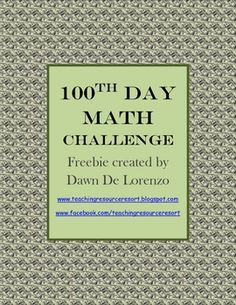 FREE 100th Day Math Challenge