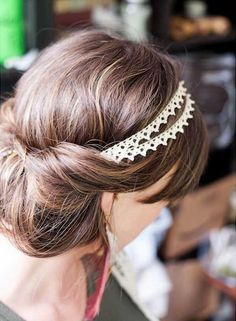 Add a pretty headband to complete a classy up do