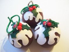 Unique Handmade Polymer Clay Christmas Ornaments by Nichola Davey of Eternal Cake Toppers.