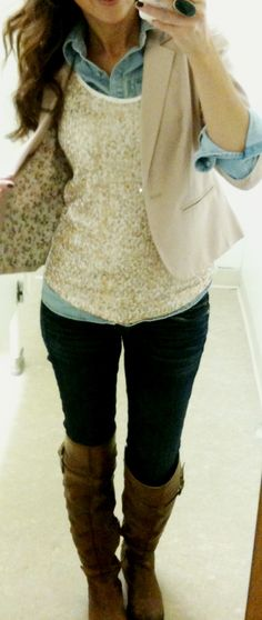 """Blazer: Laured Conrad via Kohl's (buy here, it's just a bit longer than mine)  (similar here) (and here)  Denim Shirt: Target (similar here at UO) (and here at ON)  Sequin tank: Wet Seal (similar at Express) (similar here and pretty golden here) (Here in silver at F21)  Dark Jeans: AE (buy here)  Boots: Sam Edelman """"Pierce"""" in Whiskey color (buy here or here)  Ring: F21 (similar here) (want this one, similar)"""