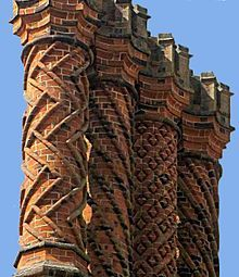 Decorative Tudor brick chimneys at Hampton Court Palace, a royal palace in the London Borough of Richmond upon Thames, Greater London, and the historic county of Middlesex, England by Bill Bradley Brick Architecture, Beautiful Architecture, Architecture Details, Zaha Hadid, Brick Art, Brick Design, Hampton Court, Tudor House, Tudor Style