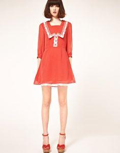 Nishe Chiffon Spot Dress with Lace Trim. Adorable!