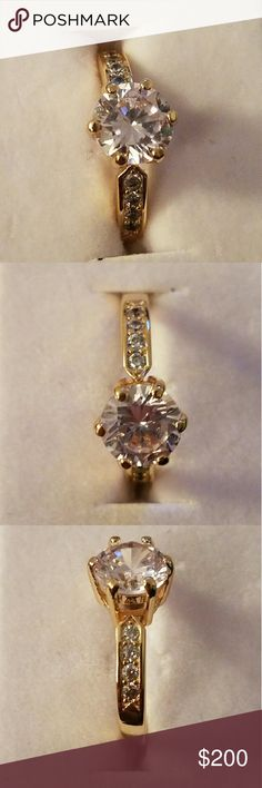 """18K Gold Plated Ring Brand new. Never used. Still in Ring Box. Beautiful Ring. Info in Picture 4. I don't know the brand of this ring is so listing """"Kay"""" for exposure. Kay Jewelers Jewelry Rings"""