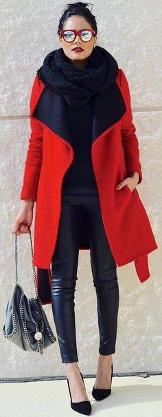 #winter #fashion / Red Coat + Black Leather Leggings + Black Pumps + Black Scarf https://womenfashionparadise.com/