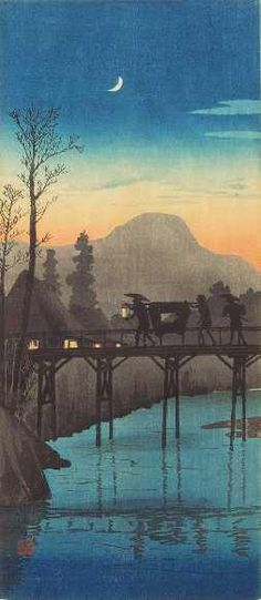 """Evening Glow at the Sakawa Bridge"", Takahashi Hiroaki (Shotei) (1871-1945) - 1924/27."
