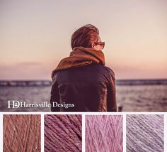 'Fall Layers' color palette featuring our Shetland yarn in Adobe, Aster, Water Lily, and Lilac.