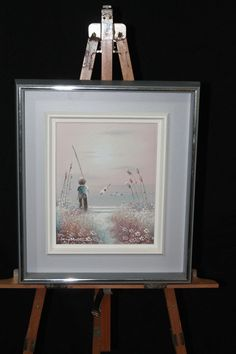 PHILIP SANDEE Oil On Canvas Signed Boy Fishing Seagulls Flowers Beautiful Sunset #Realism http://stores.ebay.com/Pontiac-Pickings