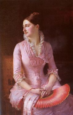 Portrait of Anne-Marie Dagnan by Gustave Courtois, 1880. #Victorian #paintings #classic #art #pink