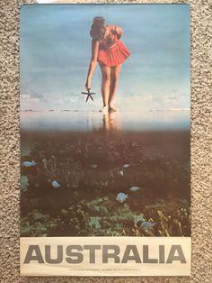 Original Travel Poster Australia 1960s Queensland Great Barrier Reef Vintage Art #Vintage