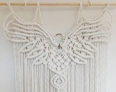 Macrame kit and pattern / DIY make your own macrame eagle wings tapestry tutorial and kit Macrame Wall Hanging Patterns, Macrame Patterns, Woven Wall Hanging, Weaving Patterns, Owl Patterns, Knitting Patterns, Crochet Patterns, Canvas Patterns, Quilt Patterns