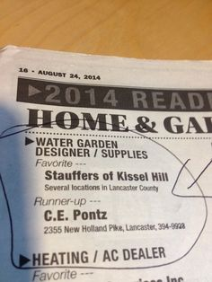 2014 Readers' Choice A-List! #Lancasterpa #ponds #watergardens