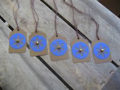 Rustic Blue and Brown Gift Tags Set of 5 Rustic by SnowNoseCrafts, $3.25