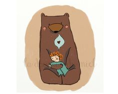 Postcard of a Bear holding a little dreaming girl, illustration, children illustration in brown and mint, kids illustration, cute animals
