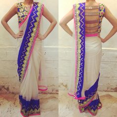 Great idea on how to design the blouse and sari draping. - Great idea on how to design the blouse and sari draping. Blouse Back Neck Designs, Saree Blouse Designs, Indian Blouse, Indian Sarees, Indian Attire, Indian Ethnic Wear, Indian Style, Saris, Indian Dresses