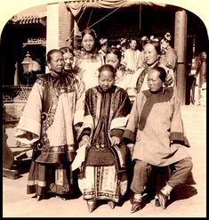 WEALTHY WOMEN WITH BOUND FEET in OLD CHINA