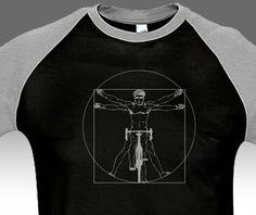 Bicicleta jinete raglán camiseta Leonardo Da Vinci por BurnTheBeans