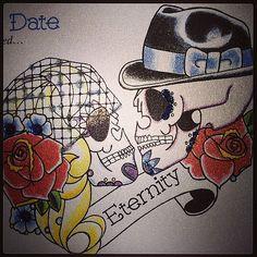 ... #oldschool #tattoo #tattoocard #handmade #card #sugarskull #candyskull #dayofthedead #tattooflash #flash #skeleton #skull #bride #groom #oldschool by ... Marriage Tattoos, Brides With Tattoos, Card Tattoo, Candy Skulls, Wedding Tattoos, Team Bride, Love And Marriage, View Image, Sugar Skull