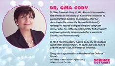 Dr Gina Parvaneh Cody is the first woman in the history of Concordia University to earn her Phd in Building Engineering. In 2010 Profit magazine named her as one of Canada's Top Women Entrepreneurs. In 2020 Dr Gina Cody, was named one of Canada's Top 25 Women of Influence. First University, Concordia University, Computer Science, Engineering, Names, Magazine, Technology, Woman, History