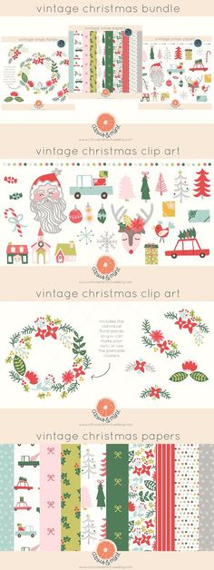 vintage christmas clipart and papers. Christmas Patterns. $18.00