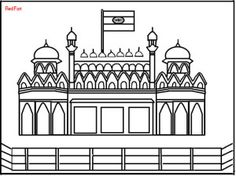 Red Fort Coloring Page