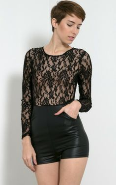 Long Sleeve Lace Leatherette Romper