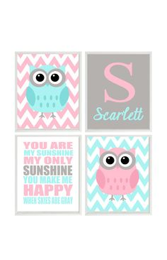 Nursery Art Owl Wall Aqua Pink Gray You Are My Sunshine Personalized Chevron Baby