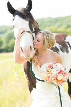 """Rustic Western Wedding. Love the idea of posing a bride with her horse. """"There is something about the outside of a horse that is good for the inside of a man."""" (or woman, IMO) ― Winston S. Churchill"""