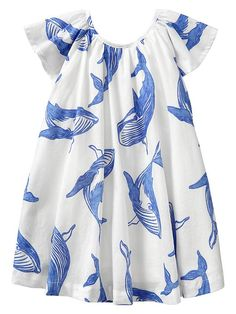 Whale Print Flutter Dress   Gap