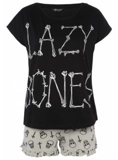 Black pj set with a lazy bones print.
