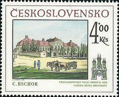 Bélyeg: C.Bschor: Grassalkovichov palác, okolo 1815 (Csehszlovákia) (Pozsonyi történelmi motívum) Mi:CS 2623,Sn:CS 2365,Yt:CS 2446,AFA:CS 2468,POF:CS 2495