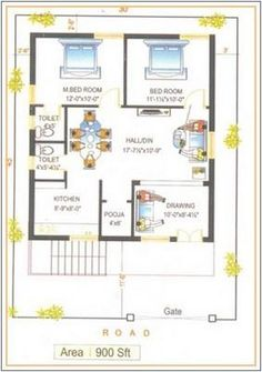 House plans for with north facing enterence 2bhk House Plan, 3d House Plans, Indian House Plans, Dream House Plans, Small House Plans, 900 Sq Ft House, 30x40 House Plans, 3 Storey House Design, Duplex Floor Plans