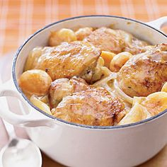 Apricot chicken thighs in the slow cooker:  Great easy way to prep cheap chicken thighs and one of my easy to make ahead of time and send to family recipes.  I add orange juice with the broth to sweeten it up a bit.