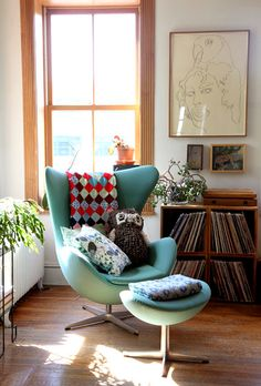 A living room corner: Gorgeous and simple box book shalf
