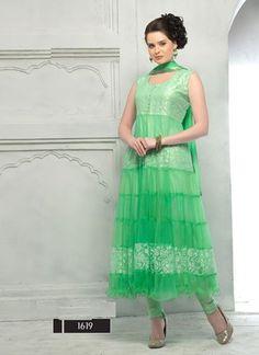 Green Designer Long Anarkali Suit