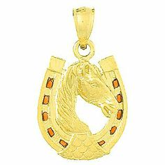 Amazon.com: 14k Gold Enamel Necklace Charm Pendant, Horse Head In Horseshoe With Stained Gla: Million Charms: Jewelry