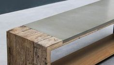 Wood and concrete bench #cemento