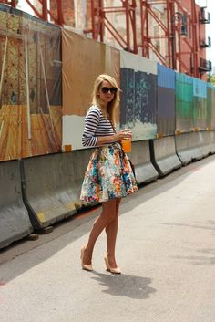 striped top with floral skirt