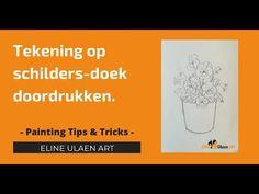 Tekening op schilders-doek doordrukken. Tips & Tricks schilderen,  Eline... Bob Ross, Painting Tutorials, Youtube, The Creator, Oil