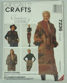 Uncut McCalls Country Western Coat Jacket Vest Skirt Misses 8-16 Pattern 7236 #McCall #Western